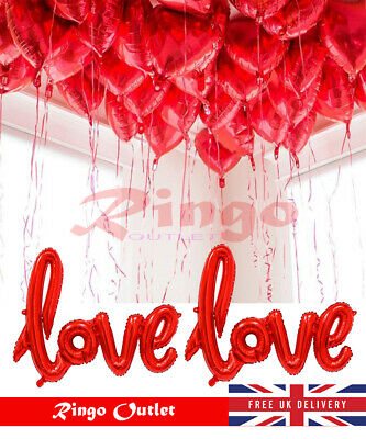 VALENTINES DAY ROMANTIC Decorations Love Heart Foil Balloons Dinner Gift Party • 2.89£