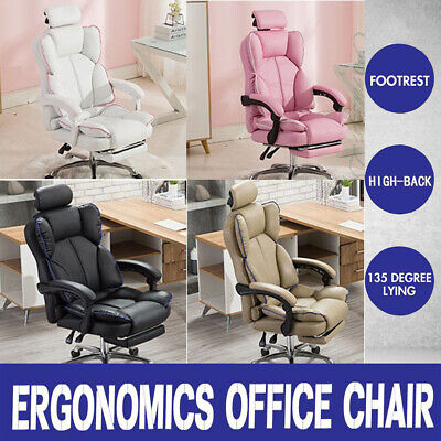 AU145.49 • Buy High Back Office Chair Gaming Chair Executive Recliner Computer Swivel Desk Seat