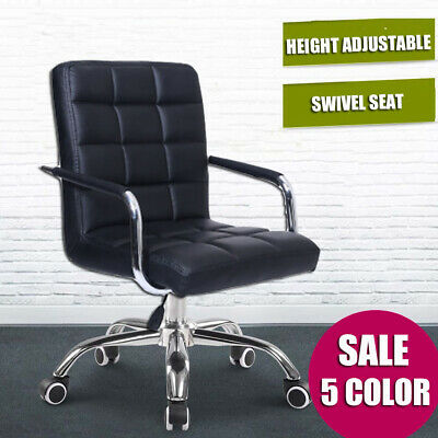 AU88.24 • Buy Black Executive Computer Office Desk Chair PU Leather Swivel Chairs High Back