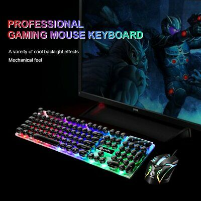 AU23.95 • Buy LIMEIDE Gaming Keyboard & Mouse Set Wired Mechanical Feeling Rainbow LED Backlit