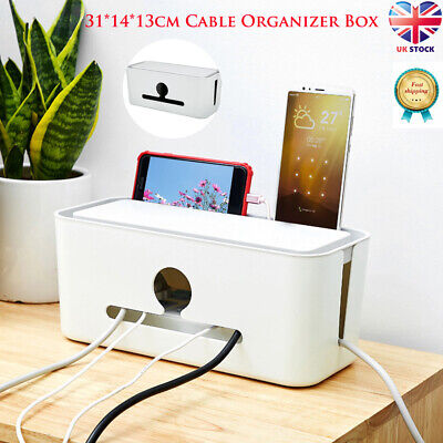 UK Cable Storage Box Case Container Socket Wire Management Safety Tidy Organizer • 9.99£