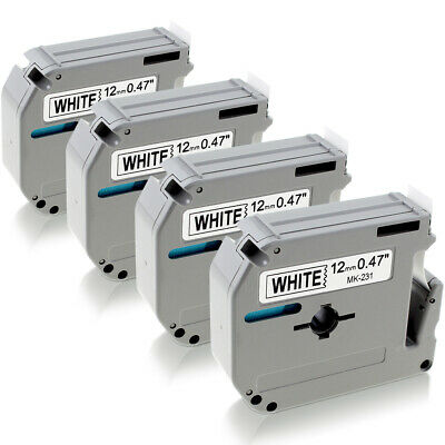 $8.69 • Buy 4PK M-K231 M231 Fit For Brother P-Touch Label Tape 12mm White PT-65 PT-85 PT-70