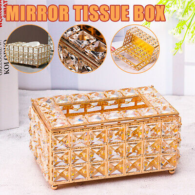 £15.89 • Buy Crystal Tissue Box Mirror Paper Storage Rack Home Table Hotel Car Case Holder