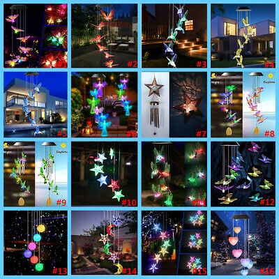 £12.45 • Buy Solar Powered LED Color Wind Chime Light Outdoor Hanging Garden Tree Decoration
