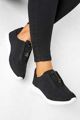 £29.98 • Buy Yours Women's Black Embellished Trainers In Extra Wide Fit Black Size