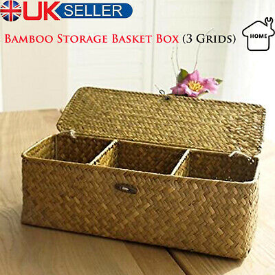 £11.39 • Buy Large Bamboo Storage Basket Box With Lid & Lock Woven Wicker Laundry Hamper Gift