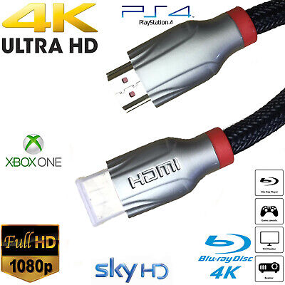 £4.50 • Buy Premium 4k Hdmi Cable 2.0 High Speed Gold Plated Braided Lead 2160p 3d Hdtv Uhd