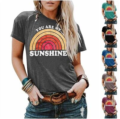 £7.99 • Buy Women Ladies Short Sleeve YOU ARE MY SUNSHINE Print Casual T-Shirt Tops