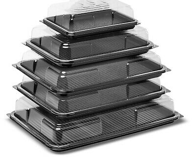 £14.99 • Buy 6 X Party Platter Tray Set With Lids - All Size For Sandwich Snacks Dips Buffet