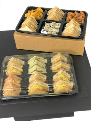£14.99 • Buy 5X Large Six Cavity Platters With Lids For Party Snacks Sandwich Buffet Cakes
