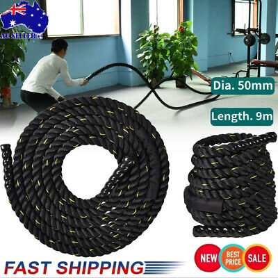 AU85.39 • Buy Dia 50mm X9M Heavy Home Gym Battle Rope Power Strength Training Exercise Fitness