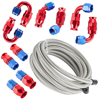 AU121.64 • Buy 6AN 3/8  PTFE E85 Hose Braided Fuel Line Fitting Kit 16FT Stainless Steel Silver