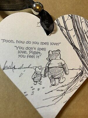 £2.59 • Buy Winnie The Pooh Spell Love Wooden Heart Hanging Decoration Sign Plaque Gift