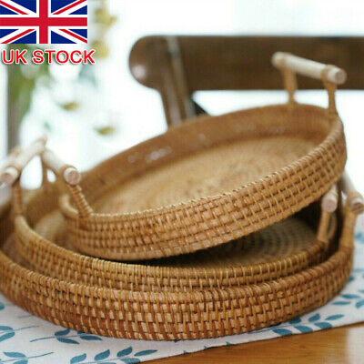 £11.99 • Buy Round Rattan Woven Bread Basket Fruit Food Tea Tray With Handles  Storage Tray