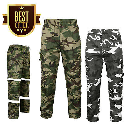 Mens 3 In 1 Camouflage Trousers Zip Off Shorts Combat Cargo Army Work Pant S-2xl • 9.49£