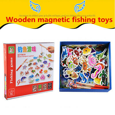 £8.89 • Buy Baby Magnetic Fishing Game Jigsaw Puzzle Board Kids Wooden Educational Toy Gift