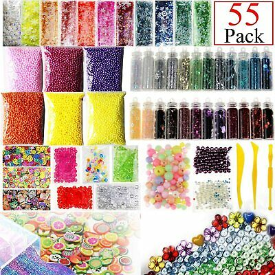 AU12.04 • Buy 55 Pack Make Your Own Slime Making Supplies Kit Beads Charms Foams Glitter Jars