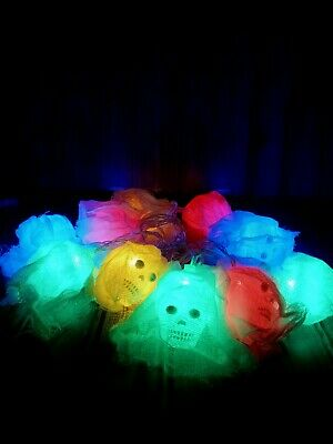 $5 • Buy 10 LED(1.5M) Halloween Skull String Lights. RGBY Scary Decorative Lights- New