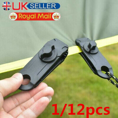 12pcs Awning Clamp Tarp Clips Snap Hangers Tent Camping Survival Tighten Tool UK • 4.16£