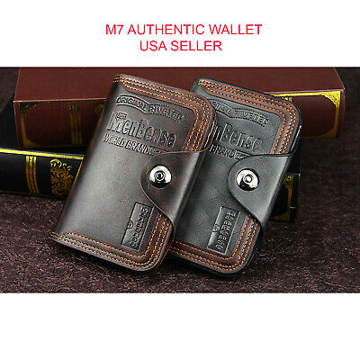 $9.99 • Buy Mens Men's S4 Retro Leather Vertical Section Credit Card Holder Wallet With Hasp