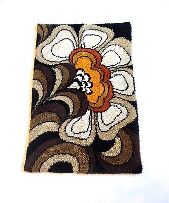 AU567.49 • Buy ABSTRACT 70s PSYCHEDELIC FLOWER CARPET RUG SHAG VINTAGE MID CENTURY SPACE AGE
