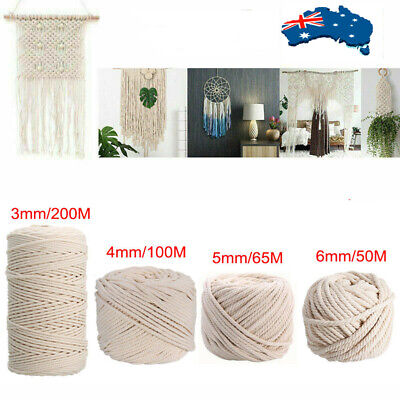 AU9.03 • Buy 50/200m Natural Cotton String Twisted Cord Beige Craft Macrame Artisan 3/4/5/6mm