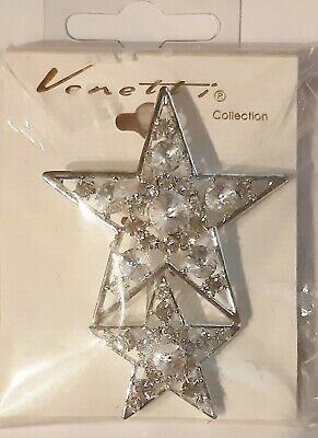 Diamante Double Star Brooch.  Cake Craft Decoration. NOW 1/2 Price! • 5.99£