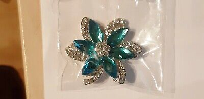 Diamante Flower Brooch.  Turquoise&Silver Cake Craft Decoration. NOW 1/2 Price! • 2.99£