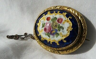 Antique Gilt Enamel Floral Cameo Brooch With Safety Chain • 9.99£