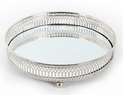 £10.95 • Buy Decorative Silver Metal Candle Plate Tray Perfume Display Mirror Glass Vintage