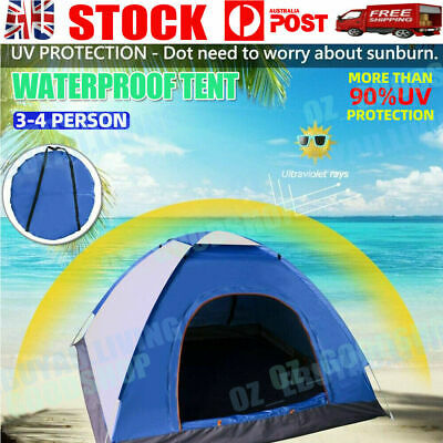 AU58.60 • Buy 3-4 Person Man Camping Waterproof Beach Tent Dome Tent Pop Up Hiking Shelter