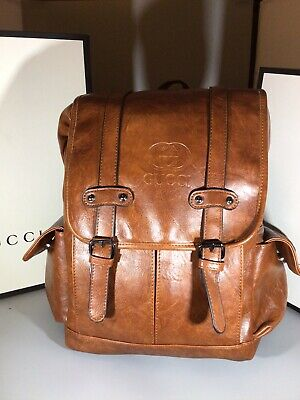 AU235.04 • Buy Gucci Men's Coffee Brown Leather Backpack- Unisex