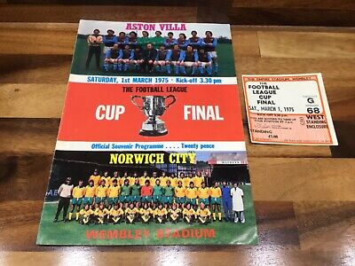 £8.95 • Buy 1975 League Cup Final Programme And Ticket Aston Villa V Norwich City