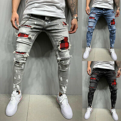 £15.99 • Buy Men's Check Ripped Skinny Stretch Jeans Slim Fit Denim Trousers Pants Fashion