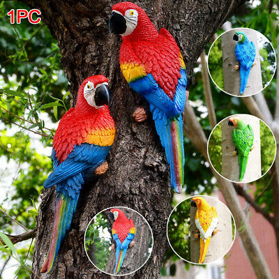 £12.10 • Buy Garden Parrot Bird Ornaments Wall Mountable Bright Outdoor Macaw Statues UK