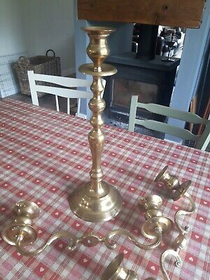 £25 • Buy Brass  Candlestick Candelabra 2 Or 3 Arm (multi Use) Vintage Wedding Table Prop