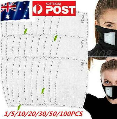 AU10.95 • Buy NOW PM2.5 Face Mask Filter For Adult Anti Pollution Filters Pad 5 Layers AU