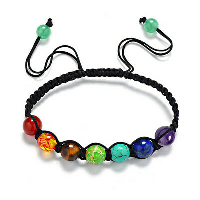 AU5.33 • Buy 7 Chakra Healing Balance Braided Beaded Bracelet Yoga Lava Reiki Prayer StonY EI
