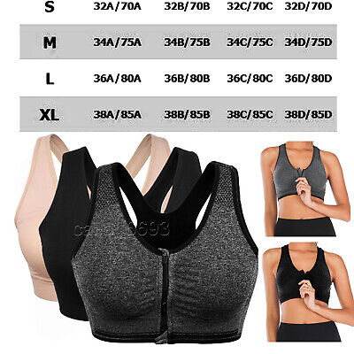 £4.91 • Buy For Women Sport Bra Padded Wireless Front Zip Yoga Cami Push Up Vest Support Top