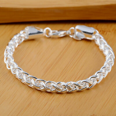 $2.37 • Buy 925 Sterling Silver 4MM ChainBracelet For Women Wedding Cute Party Lady Nice Hot