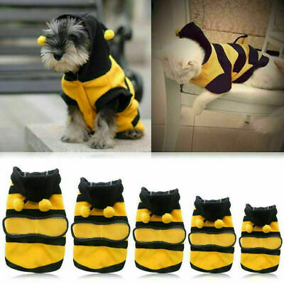 £6.39 • Buy Pet Puppy Bee Coat Apparel Outfits Fleece Clothes Dog Cat Hoodie Costume XS-XL