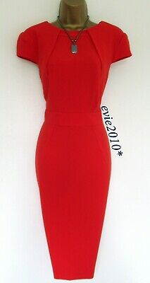 AU134.15 • Buy Karen Millen Tailored Dress Size UK 14 Immaculate Orange Red Crepe Fabric Lined