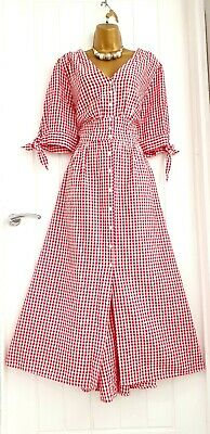 AU20.57 • Buy MONSOON Size 18 Red Checked Gingham Shirt Dress Summer Casual 100% Cotton Maxi