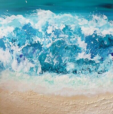 The Ocean. Abstract Acrylic Painting On Canvas. Signed • 145£