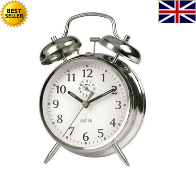 £11.99 • Buy Traditional Classic Saxon Wind Up Double Bell Alarm Clock - Chrome