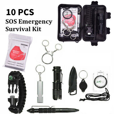 £7.49 • Buy 9 In 1 Outdoor Emergency Equipment SOS Kit Camping Survival First Aid Box Set Co