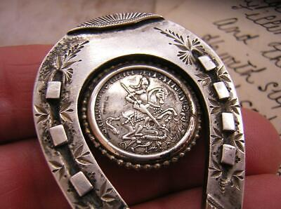 VICTORIAN SILVER HORSESHOE BROOCH PIN With GEORGE & DRAGON MEDALLION GOOD LUCK • 65£