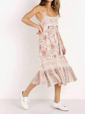 AU100 • Buy Spell And The Gypsy Zahara Midi Dress Pink Size XS