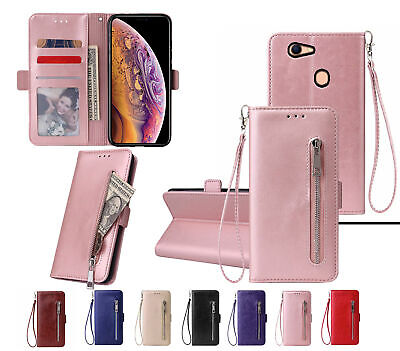 AU12.90 • Buy Oppo A73 A75 F5 Pu Leather Wallet Case With Card Front Zip Side Magnet Closure