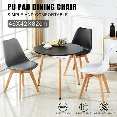 AU84.48 • Buy Modern Fashion Leisure Office Non-slip Solid Wood Legs PU Leather Dining Chair